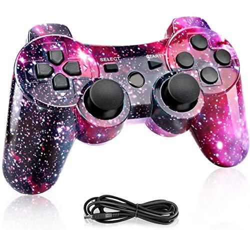 Powcan Mando Inalámbrico PS3, Bluetooth PS3 Gamepad Controller Doble vibración Mando a Distancia Joystick para Playstation 3 y PC Windows 7/8/9/10 con Cable de Carga USB (Púrpura)