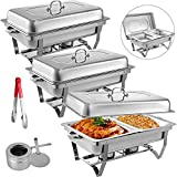 Mophorn 3 Packs Stainless Steel Chafing Dishes 2 Half Size Pans 8 Quart Rectangular Chafer Complete Set (3 Packs)