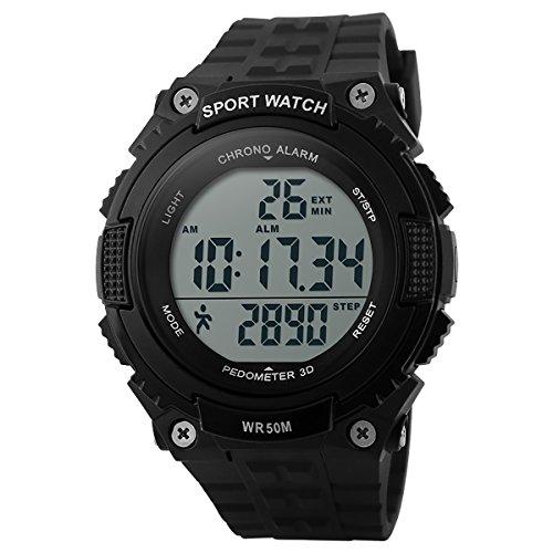 Sport Armband Uhr für Herren Damen, LANCARDO LED Digitale wasserdichte Fitness Sportuhr mit schrittzähler Kalender Alarm Chronograph Stoppuhr schwarz