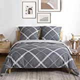 ATsense Baumwolle Bettwäsche 155x220 cm, 2 teilig Wende Bettwäsche-Sets mit Grau Gittermuster, Weiche Flauschige Bettbezug Set mit Reißverschluss und 1 mal 80x80cm Kissenbezug
