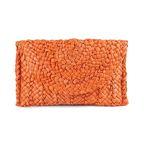 Syrads Bolso de mano de paja de noche para mujer Bolso de playa de verano Bolso de sobre tejido de paja,Naranja