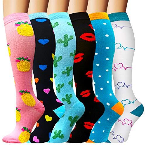 Compression Socks Women & Men(6 Pairs) - Best for Running,Medical,Athletic Sports,Flight Travel, Pregnancy