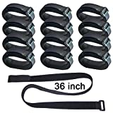 Hanete 12 Pack 36 inch Reusable Fastening Cable Straps, Hook and Loop Cable Tie Wraps Cinch Cable Tie Down Straps