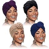 4 Piezas Turbantes para Mujer Envoltura de Cabeza de Africano Gorro Turbante con Nudo Pre-Atado, Color Sólido