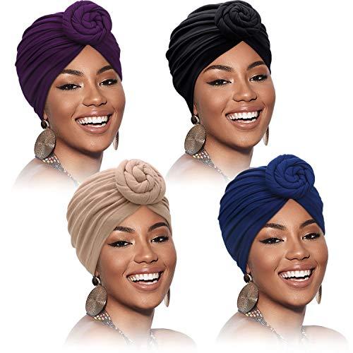 4 Stück Turban für Damen Afrikanisch Kopfbedeckung Vor-Gebunden Knoten Turban Hut Mütze Kappe, Solide Farbe