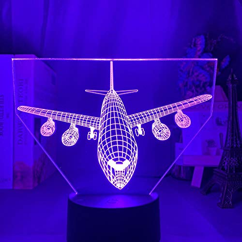 Acrylic 3D Illusion Led Night Light Airplane Model Nightlight Gift For Kids Child Bedroom Decoration Colorful 3D Lamp Bedside