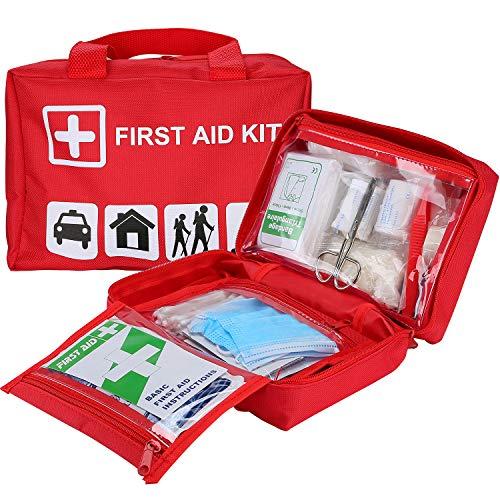 ProCase EHBO-kit, universele overlevingskit met 93 stuks medische benodigdheden voor auto, thuis, kantoor, sport, reizen, kamperen, wandelen en kajakken - Rood