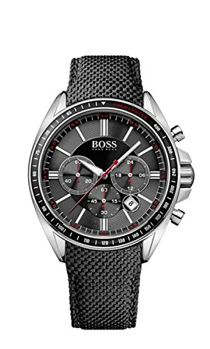Hugo Boss 1513087 Chronograph Uhr Herrenuhr Lederarmband Edelstahl 50m Analog Chrono Datum schwarz