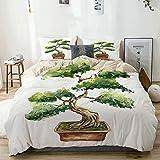 Juego de funda nórdica Beige, estilo acuarela Bonsai Árbol japonés dibujado a mano Inspirado en la naturaleza oriental, decorativo Juego de ropa de cama de 3 piezas con 2 fundas de almohada Fácil cuid