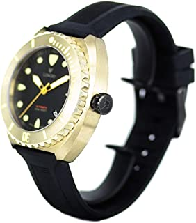 Bronze Dive Watch Longio Zhuke 500m Swiss Automatic Divers Watches for Men with He-Valve Sapphire Leather & Rubber Strap