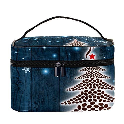 Neceser de Maquillaje Estuche Escolar para Cosméticos Bolsa de Aseo Grande Granos de café de árbol de Navidad
