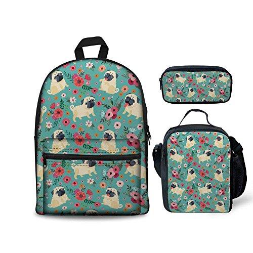 INSTANTARTS Floral Pug School Backpack Pencil Case Lunchbox 3 Piece/Set Blue