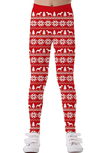 Timemory Girls Chic Christmas Snowflake Reindeer Christmas Tree Red Leggings S