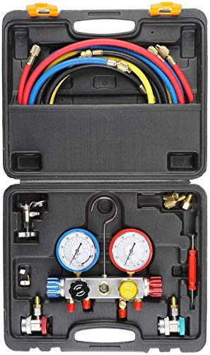 Orion Motor Tech 4 Way AC Diagnostic Manifold Gauge Set, Fits R134A R410A and R22 Refrigerants, with 5FT Hose, 3 Acme Tank Adapters, Adjustable Couplers and Can Tap