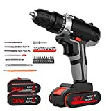 Cordless Drill Driver 36V Cordless Electric Drill Set LED Illuminated Electric Driver Variable Speed Electric Drill Family Repair Tools for Furniture Electrical Appliances and Bicycles Convenient and