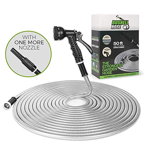 BOSNELL Metal Garden Hose Stainless Steel, Yard Hose,Tangle Free&Kink Free Lightweight with 2 Free Nozzles,Flexible and Cool to Touch, Outdoor Hose