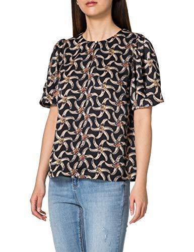 Scotch & Soda Maison Damen Bedrucktes Top im Boxy Fit Bluse, 0222 Combo F, XL