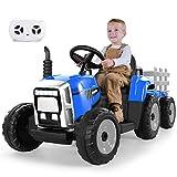 METAKOO Tractor Eléctrico 12V 7Ah 2+1 Cambio de Marchas, Tractor Juguete de Montar con Faro de 7 LED, Botón de Bocina/Reproductor MP3/ Bluetooth/Puerto USB/Control Remoto para Niño 3-6 años (Azul)