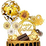 MOVINPE Gold Cake Topper Cake Decoration Happy Birthday Paper Fans Banner Confetti Balloon Fireworks...