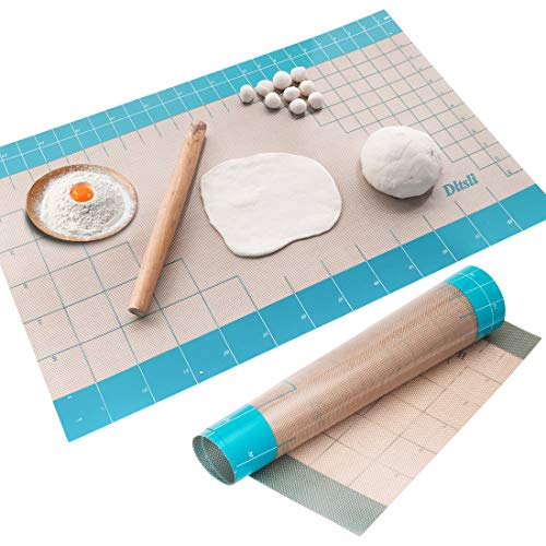 36x24 inch XXL Silicone Baking Mat Extra Large Pastry Fondant Dough Mat Non Stick, Full Stick To Countertop Surface Liner For Rolling Kneading Pie Crust Pizza Cake Bread Cookie Bake Scone Tool (Blue)