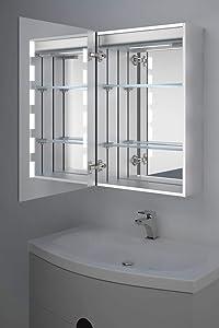 Kara Clock LED Bathroom Cabinet With Demister Pad, Sensor & Shaver k391