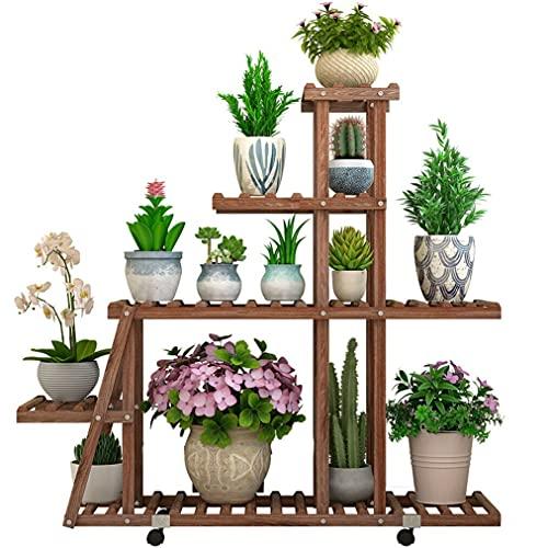 unho Soporte para Plantas de Madera con Ruedas, Estantería para Macetas con 5 Niveles, Estente Flores para Exterior Interior Jardín 95 x 25 x 102cm
