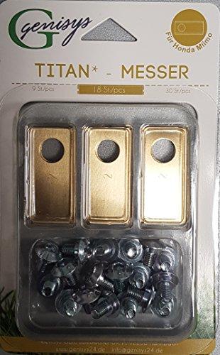 genisys 18 Titan Ersatz-Messer Klingen & 18 Schrauben für Miimo Mähroboter von Honda