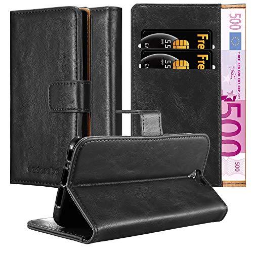 Cadorabo Hülle für HTC One A9 - Hülle in Graphit SCHWARZ – Handyhülle im Luxury Design mit Kartenfach & Standfunktion - Hülle Cover Schutzhülle Etui Tasche Book
