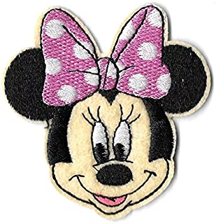Iron On Embroidered Patch Top Quality Minnie Mouse Cartoon Pink & White Bow 2-1/2