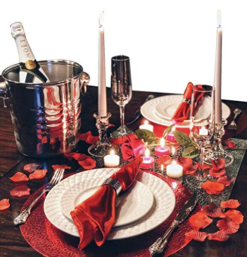 Romantic Dinner for Two Gift Box | Romantic Anniversary Decorations Gift Basket with Candles and Rose Petals