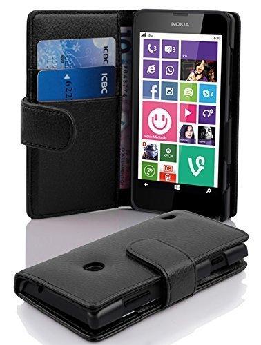 Cadorabo Hülle für Nokia Lumia 630/635 in Oxid SCHWARZ – Handyhülle aus Strukturiertem Kunstleder mit Standfunktion & Kartenfach – Hülle Cover Schutzhülle Etui Tasche Book Klapp Style