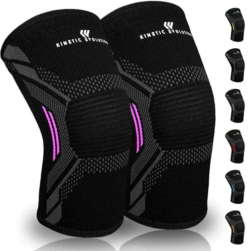 Kinetic Evolution Kniebandage für Damen und Männer, 2 Stück Knieschoner, rutschfest, Atmungsaktiv Knieschützer, Sportbandage für Volleyball Basketball Fußball Laufen Wandern (M, Pink)