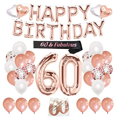 Finypa 60th Birthday Decorations for Women - 60th Happy Birthday Decoration Gold Rose with Sash, Number 60 Foil Balloon, Happy Birthday Banner, Happy 60th Birthday Cake Topper