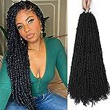 Pre-twisted Passion Twist Crochet Hair Pre twisted Spring Twist Hair 6 Packs 20inch Prelooped Crochet Braids Mini Loc Twist Braiding Hair For Women Befunny Hand Made Black Crotchet(20',1B#)