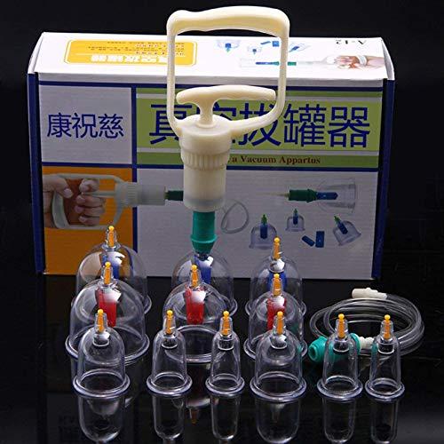 Kang Zhuci Schröpfen Set mit 12 Schröpfgläser aus Kunststoff mit Vakuumpumpe. Schröpfglas gegen Verspannungen und Cellulite