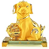 BOYULL Chinese Zodiac Dog Golden Resin Collectible Figurines Table Decor Statue