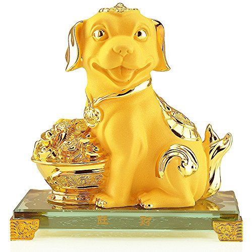BOYULL Chinese Zodiac Dog Golden Resin Collectible Figurines Table Decor Statue Chinese Zodiac Year Monkey