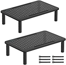 2 Pack Monitor Stand Riser, 3 Height Adjustable Monitor Stand with Pen Holder, Ergonomic Metal Laptop Stand with Cable Management, Great Computer Stand for Laptop, iMac, PC, Printer, 14.5 in, Black
