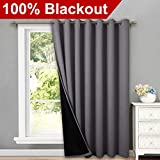 NICETOWN Total Shade Patio Door Curtain, Heavy-Duty Full Light Shading Sliding Door Drape Room Divider Curtain, Vertical Blinds for Window1 Panels, 100 inches Wide x 84 inches Long, Gray