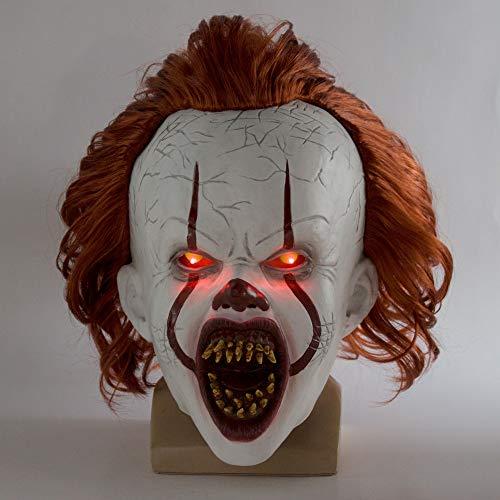 LYABANG Stephen König Der Es Maske Pennywise Horror Clown Joker Maske Die Augen Werden Glanz Clown Latex Maske Halloween Cosplay Kostüm Requisiten
