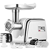 Electric Meat Grinder, Aicok Sausage Stuffer with 4 Grinding Plates, 3 - S/S Blades, Sausage Tubes, Kubbe Maker. 2 Free Meat Claws, Cookie Shaper & 1 Burger-Slider Maker, 3 Speeds Control, Storage Box