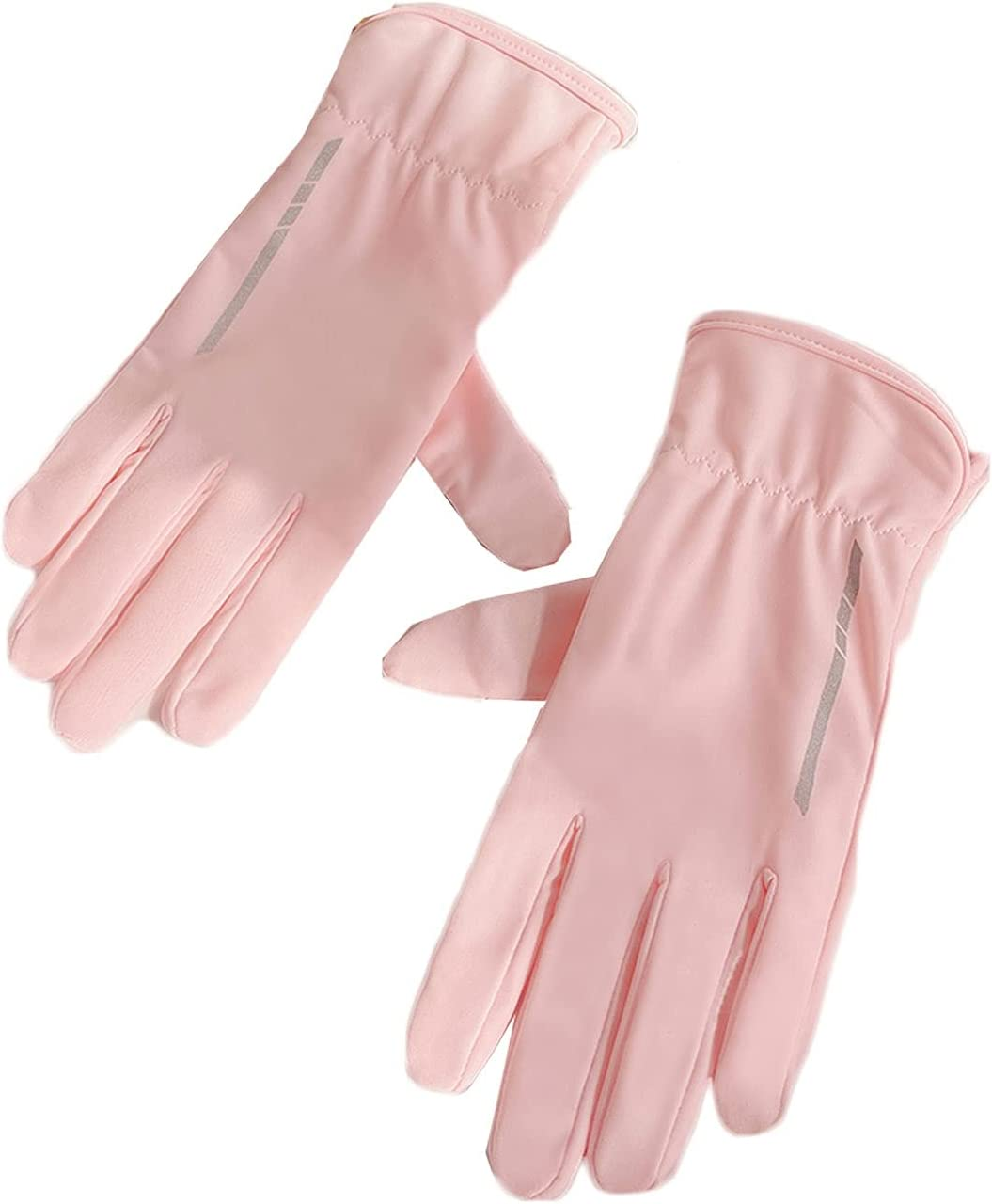 Thin Gloves Sunscreen Gloves Female Summer Thin Ice Silk Riding Spring and Autumn Can Touch Screen Warm Gloves (Color : Pink)