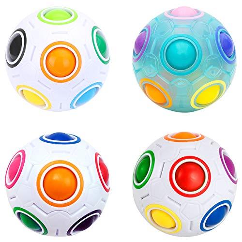 Easehome Regenbogenball Zauberball 4 Stück Regenbogen Magic Rainbow Ball Puzzle Cube Würfel Kinder Zauberwürfel Spielzeug