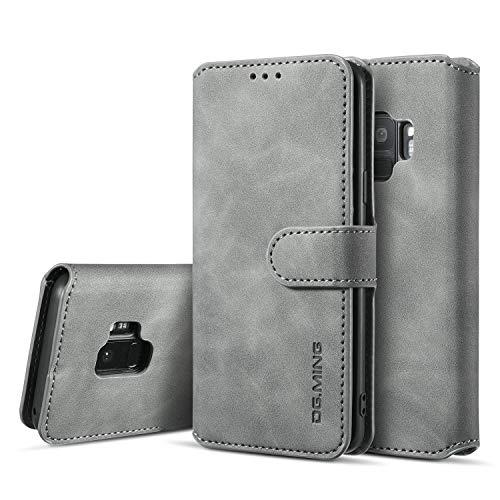 UEEBAI Handyhülle für Samsung Galaxy S9, Hülle Retro Premium PU Leder Weich Klapphülle Magnetverschluss Wallet Kartenfach Standfunktion Cover Anti Kratzern Flip Case Trageband Schutzhülle - Grau