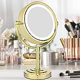 Espejo cosmético LED con soporte, espejo de mesa con luz, espejo de pie dorado, espejo cosmético redondo dorado, diámetro 21,5 cm X10