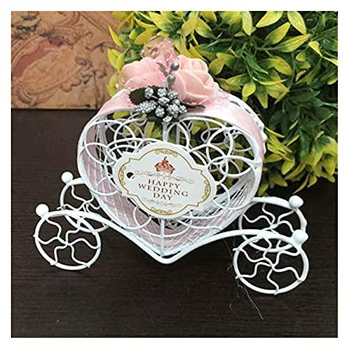 MAUAP 1 PC Decoración de la Boda romántica en Forma de corazón Europea Creativo Carro de la Calabaza de la Boda Caja del Caramelo del Favor y Regalos Suministros (Color : Pink)