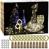 12 pièces LED Bouteille Guirlande, Guirlande Lumineuse, 2M 20LED Étanche Fil en Cuivre, Décoration Noël Fête, Saint Valentin, Mariage Jardin Terrasslouse Soirée (Blanc Chaud)
