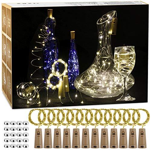 12 Stück LED Flaschenlicht, 20 LEDs 2M Lichterkette Kupferdraht Batteriebetriebene Weinflasche Lichter mit Kork Schnurlicht für DIY Deko Weihnachten Party Urlaub Stimmungslichter (Warmweiß)