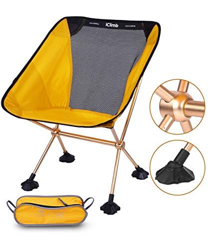 iClimb キャンプ 椅子 超軽量 アウトドア チェア コンパクト 椅子 折りたたみ 7075アルミニウム合金 キャンプ チェア 耐荷重145kg アウトドア 椅子 (イエロー)