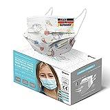 HARD 50x Kinder Medizinischer Mundschutz, Made in Germany, TYP IIR OP-Maske, CE zertifiziert EN14683 99,78% BFE 3-lagig, schützende Mund-Nasen-Bedeckung, Einweg-Gesichtsmasken - Einhorn